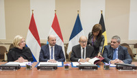 Meetings of the NATO Defence Ministers at NATO Headquarters in Brussels - Air Space Protection Treaty between Belgium, france, Luxembourg and The Netherlands