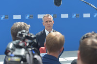 NATO Secretary General's Doorstep upon arrival at new NATO Headquarters - Meeting of NATO Heads of State and Government in Brussels
