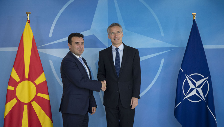 NATO Secretary General Jens Stoltenberg and the Prime Minister of the former Yugoslav Republic of Macedonia, Zoran Zaev