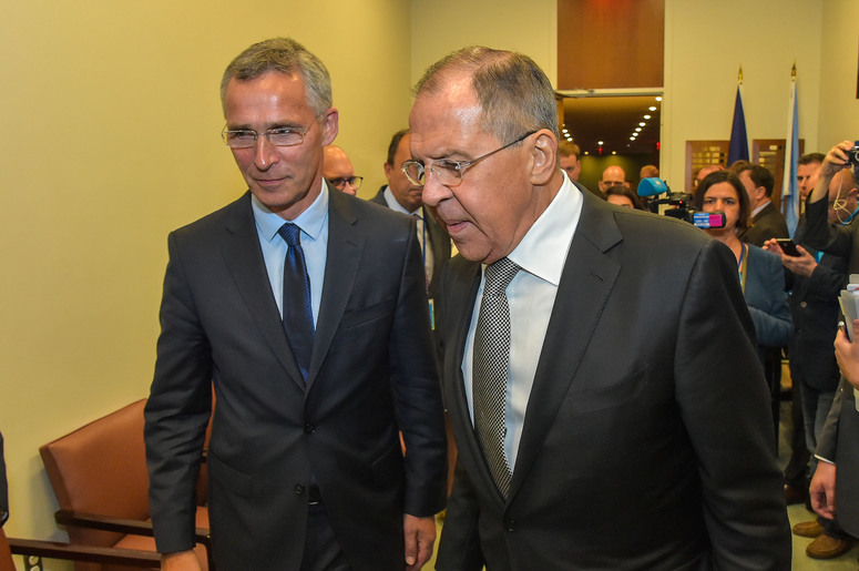 NATO Secretary General Jens Stoltenberg meets with the Minister of Foreign Affairs of the Russian Federation, Sergey Lavrov
