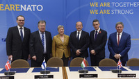 Meetings of the NATO Defence Ministers at NATO Headquarters in Brussels - Signature ceremony: Air-to-Ground Precision Guided Munitions Project