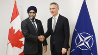 Meetings of the Defence Ministers at NATO Headquarters in Brussels - Bilateral meeting between NATO Secretary General and the Defence Minister of Canada