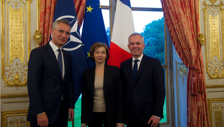 NATO Secretary General Jens Stoltenberg, Florence Parly (Minister of the Armed Forces of France) and Francois de Rugy (President of the Assemblée nationale)