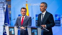NATO Summit Brussels 2018 - Signing ceremony with Prime Minister Zaev marking the beginning of accession talks with Skopje