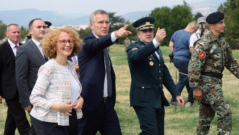 NATO Secretary General Jens Stoltenberg visits the Ilinden barracks and witnesses a short exercise of the Special Operations Regiment