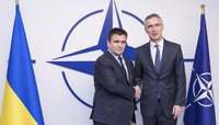 Meetings of the Ministers of Foreign Affairs at NATO Headquarters in Brussels - Handshake between NATO Secretary General and the Minister of Foreign Affairs of Ukraine