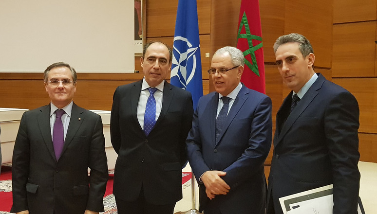 (from left to right) NATO's Head of Middle East and North Africa Section, Mr Nicola de Santis, NATO Assistant Secretary General for Political Affairs and Security Policy Ambassador Alejandro Alvargonzalez, Minister Delegate in Charge of the Administration of Defence of Morocco Mr Abdellatif Loudiyi, and Director of Global Affairs at the Moroccan Ministry of Foreign Affairs and International Cooperation Mr Ismael Chekkori