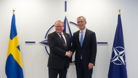 Meetings of the Ministers of Defence at NATO Headquarters in Brussels - Meeting between NATO Secretary General and the Minister of Defence of Sweden