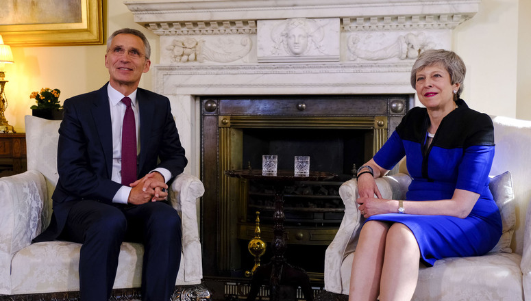 NATO Secretary General Jens Stoltenberg and Theresa May, UK Prime Minister