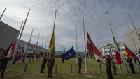 Flag lowering ceremony at old NATO HQ