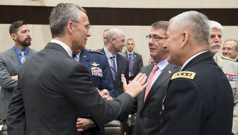 Left to right: NATO Secretary General Jens Stoltenberg talking with Ash Carter (US Secretary of Defense) and General John F. Campbell (Commander, Resolute Support)
