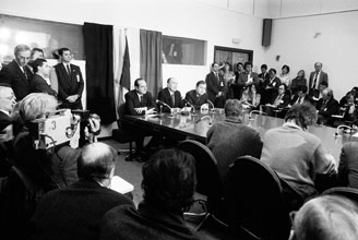 President Mitterrand in the conference room in question