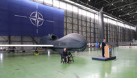NATO Secretary General attends ceremony at Sigonella Air base to mark the delivery of Alliance Ground Surveillance remotely piloted aircraft.
