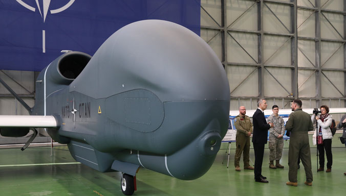 NATO Secretary General visits Alliance Ground Surveillance aircraft in Italy