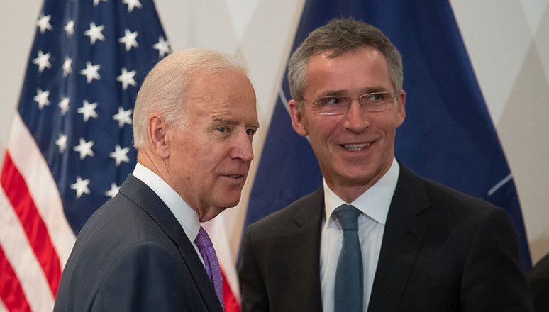 NATO Secretary General Jens Stoltenberg and then US Vice President Joe Biden at the Munich Security Conference in February 2015