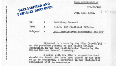 NATO Declassified: Documents related to the Non-Proliferation Treaty are publicly disclosed