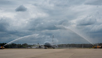 First aircraft of NATO's future multi-role tanker transport fleet lands at Eindhoven airbase