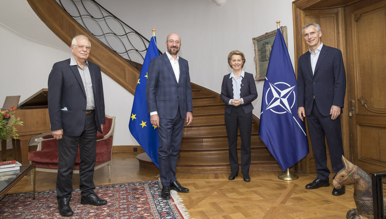 NATO Secretary General Jens Stoltenberg hosted a working dinner for Charles Michel, President of the European Council, Ursula von der Leyen, President of the European Commission and Josep Borrell, High Representative of the European Union for Foreign Affairs and Security Policy, Vice President of the European Commission on Thursday 2 July 2020.