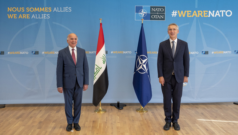 NATO Secretary General Jens Stoltenberg and the Foreign Minister of Iraq, Fuad Mohammad Hussein