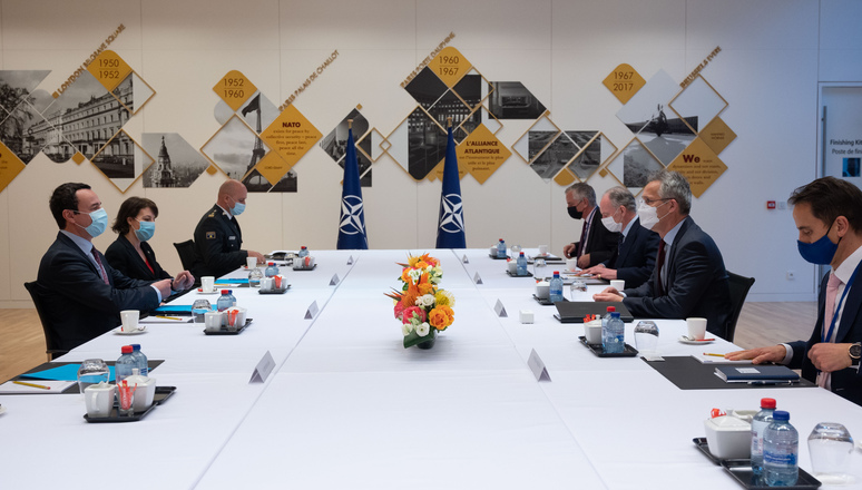 Albin Kurti from Kosovo visits NATO and meets with NATO Secretary General Jens Stoltenberg