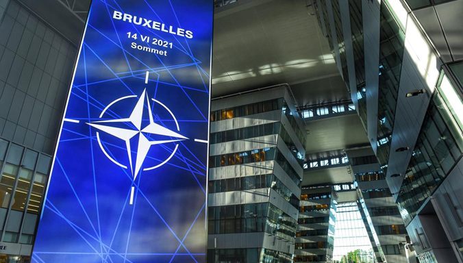 Leaders arrive for NATO Summit, view NATO 2030 display