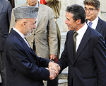 KABUL, Afghanistan- Afghan President Hamid Karzai greets NATO's newly appointed Secretary General, Anders Fogh Rasmussen at the presedential palace.  Image by MSgt Chris Haylett