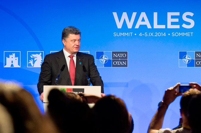 Support for Ukraine: Ukrainian President Petro Poroshenko         at the Wales Summit.