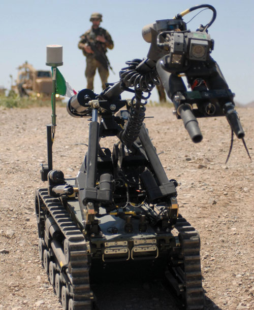 Safer route clearance: robots counter         improvised explosive devices (IEDs).