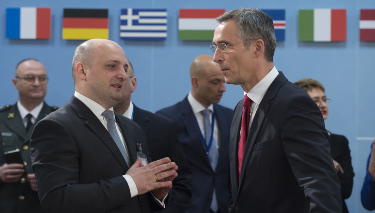 Left to right: Mindia Janelidze (Minister of Defence, Georgia) with NATO Secretary General Jens Stoltenberg