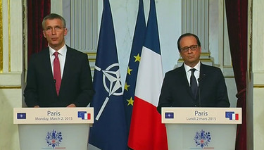 Press statement by NATO Secretary General Jens Stoltenberg at the joint press point with the President of France François Hollande at the Élysée in Paris