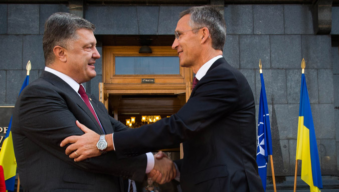 NATO Secretary General Jens Stoltenberg and the President of Ukraine, Petro Poroshenko