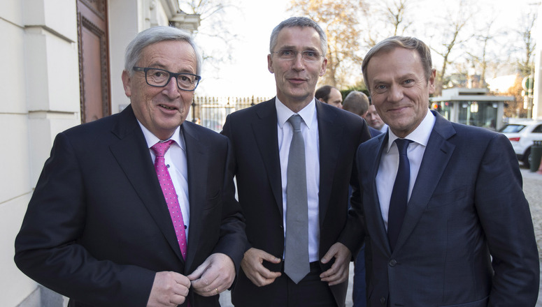 Jean-Claude Juncker, President of the European Commission, NATO Secretary General Jens Stoltenberg and Donald Tusk, President of the European Council