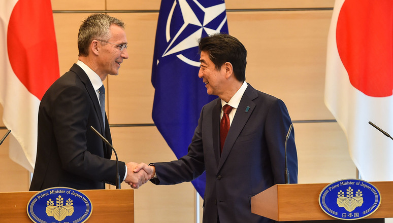 Joint press point by NATO Secretary General Jens Stoltenberg and the Prime Minister of Japan, Shinzo Abe