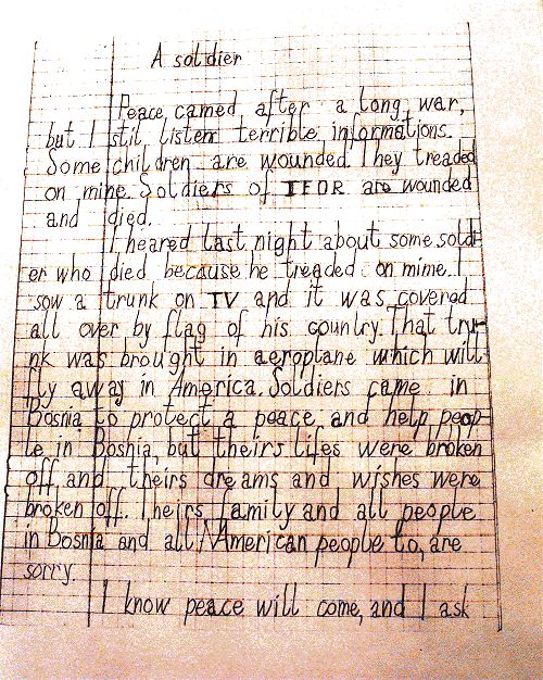 Soldiers Last Letter.Operation Joint Endeavour Ifor Pictures